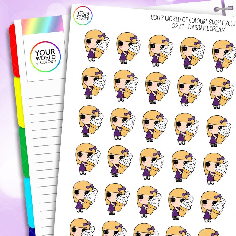 Ice Cream Daisy Character Planner Stickers