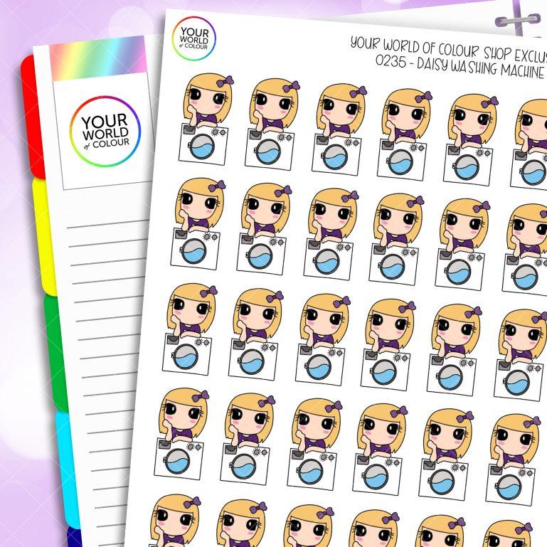 Washing Machine Daisy Character Planner Stickers