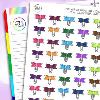 Bow Paperclip Planner Stickers