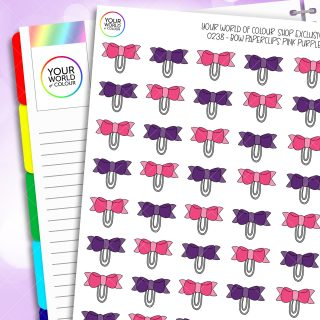 Iris and Daisy Bow Paperclip Planner Stickers