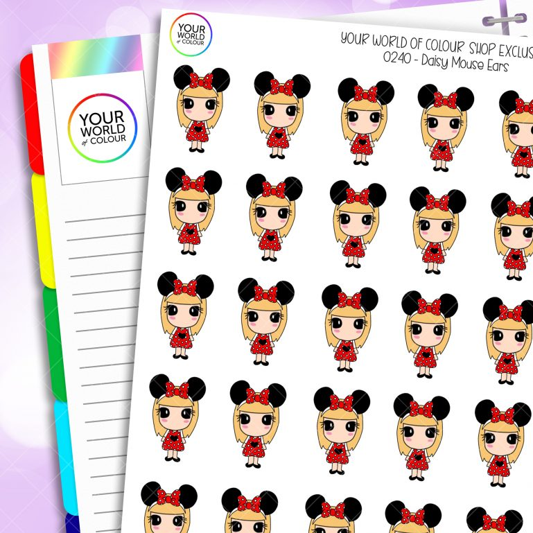 Mouse Ears Daisy Character Planner Stickers