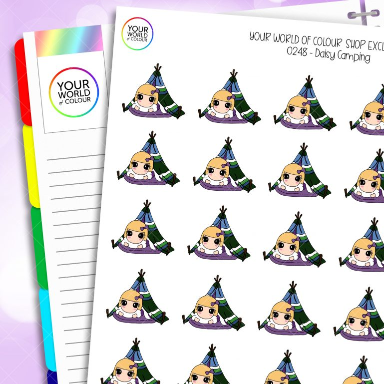 Camping Daisy Character Planner Stickers