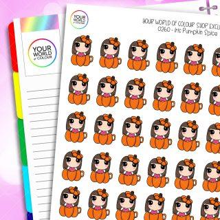 Pumpkin Spice Iris Character Planner Stickers