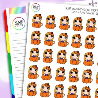Pumpkin Spice Daisy Character Planner Stickers