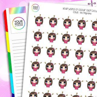 Migraine Iris Character Planner Stickers