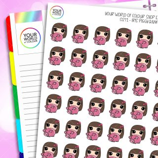 Piggy Bank Iris Character Planner Stickers