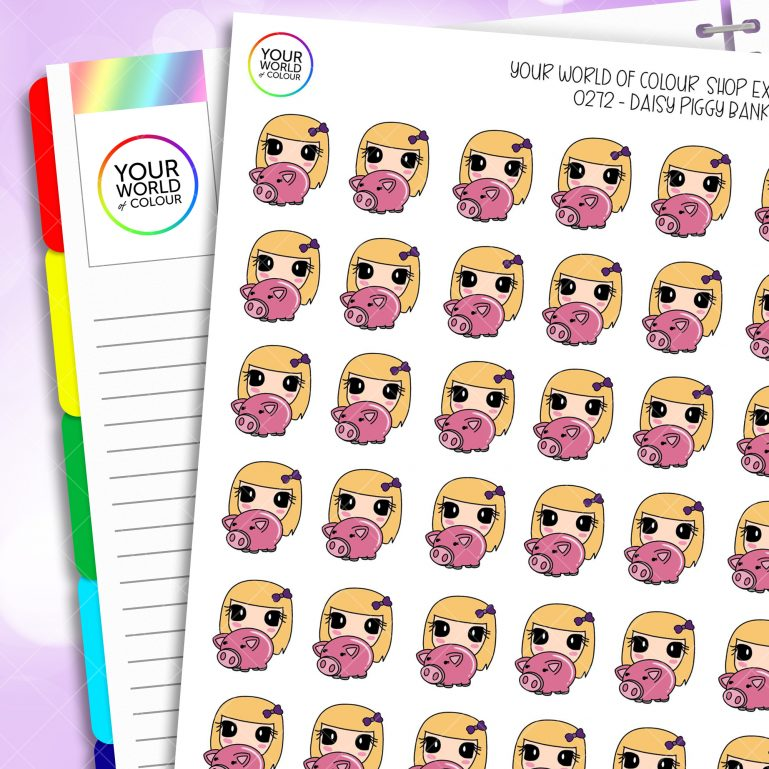 Piggy Bank Daisy Character Planner Stickers