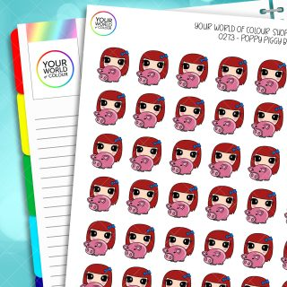 Piggy Bank Poppy Character Planner Stickers