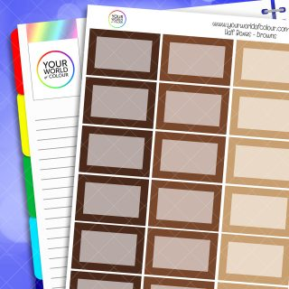 Half Box Planner Stickers - Browns