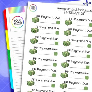PIP Payment Due Planner Stickers
