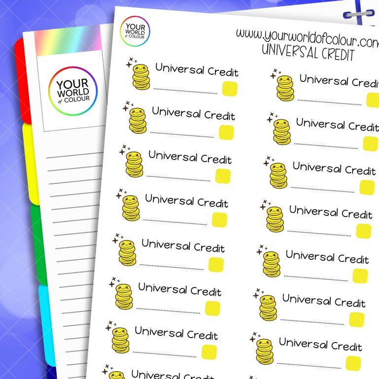 Universal Credit Planner Stickers
