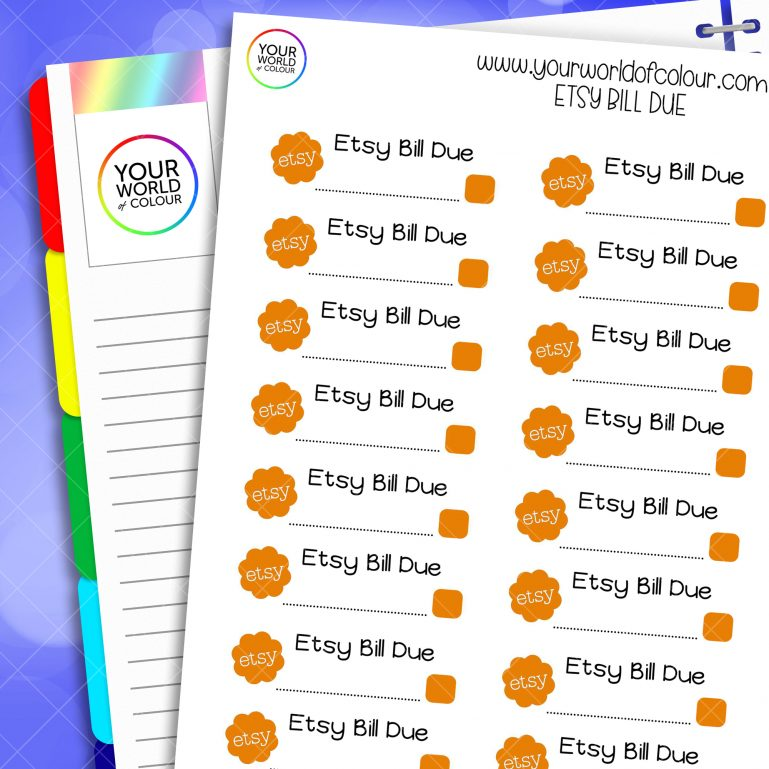 Etsy Bill Due Planner Stickers