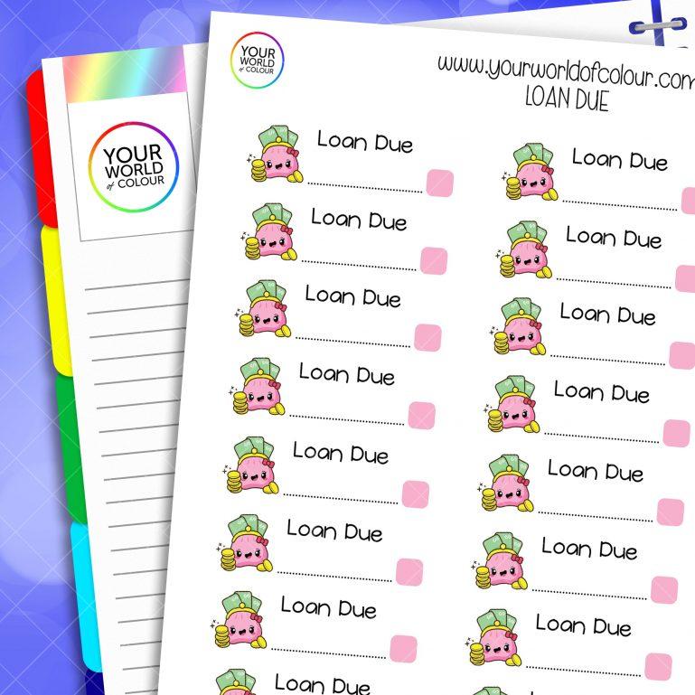 Loan Due Planner Stickers