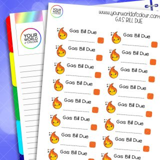 Gas Bill Due Planner Stickers