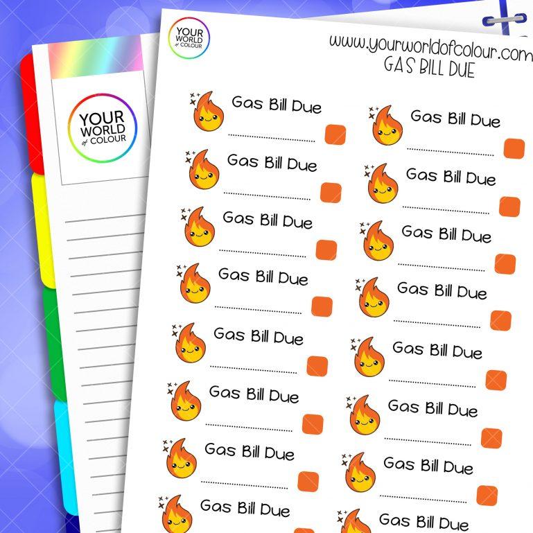 Gas Bill Due Planner Stickers