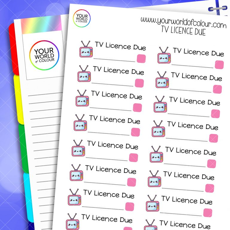 TV Licence Due Planner Stickers