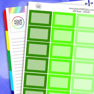 Half Box Planner Stickers - Greens