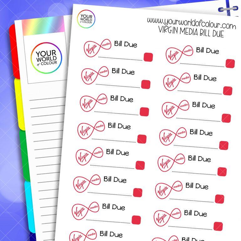 Virgin Bill Due Planner Stickers