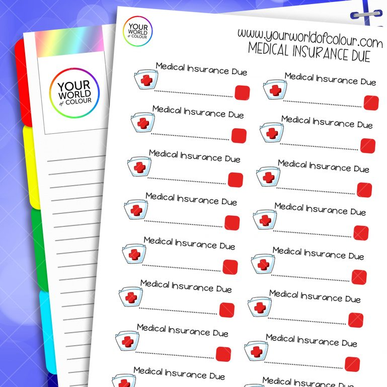 Medical Insurance Due Planner Stickers