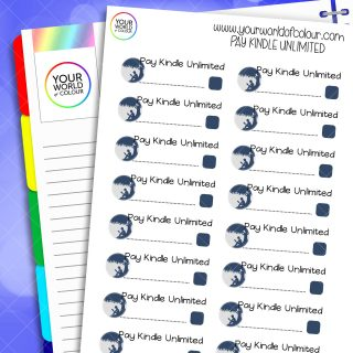 Pay Kindle Unlimited Planner Stickers