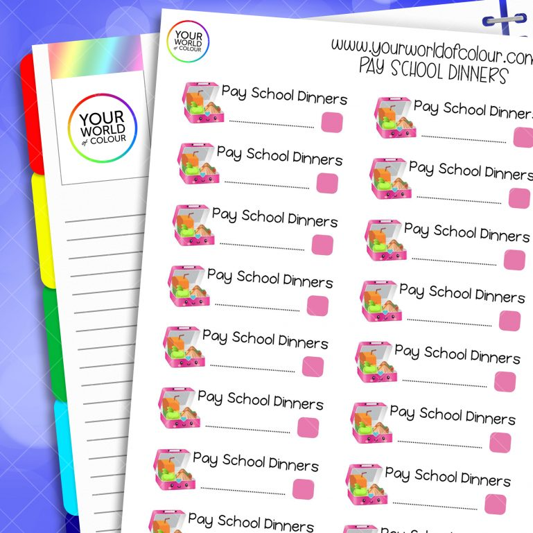 Pay School Dinners Planner Stickers