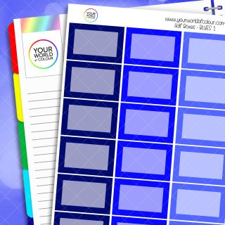 Half Box Planner Stickers - Blues 1