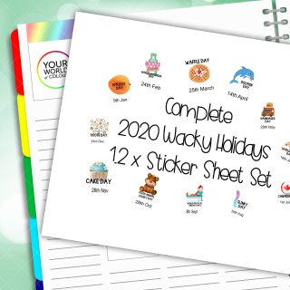 2020 Complete Set Of Wacky Holidays Planner Stickers