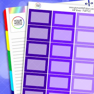 Half Box Planner Stickers - Purples 1