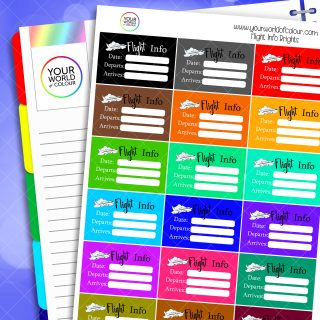 Flight Info Half Box Planner Stickers - Brights