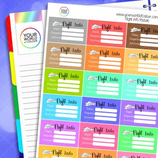 Flight Info Half Box Planner Stickers - Pastels