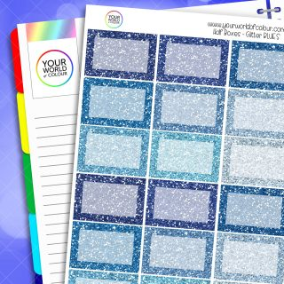 Glitter Half Box Planner Stickers - Blues