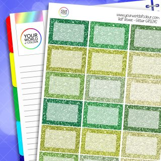 Glitter Half Box Planner Stickers - Greens