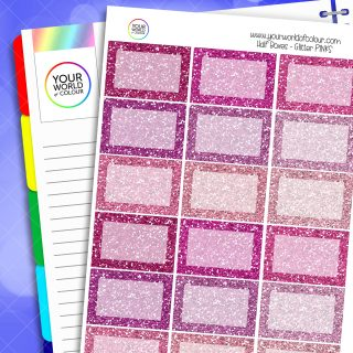 Glitter Half Box Planner Stickers - Pinks
