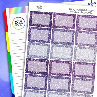 Glitter Half Box Planner Stickers - Purples