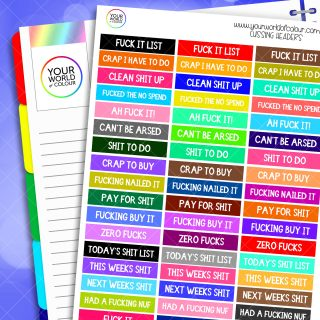 Cussing Header Planner Stickers