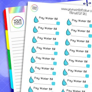 Pay Water Bill Planner Stickers