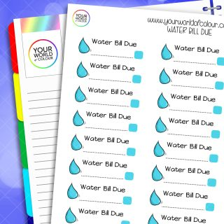 Water Bill Due Planner Stickers