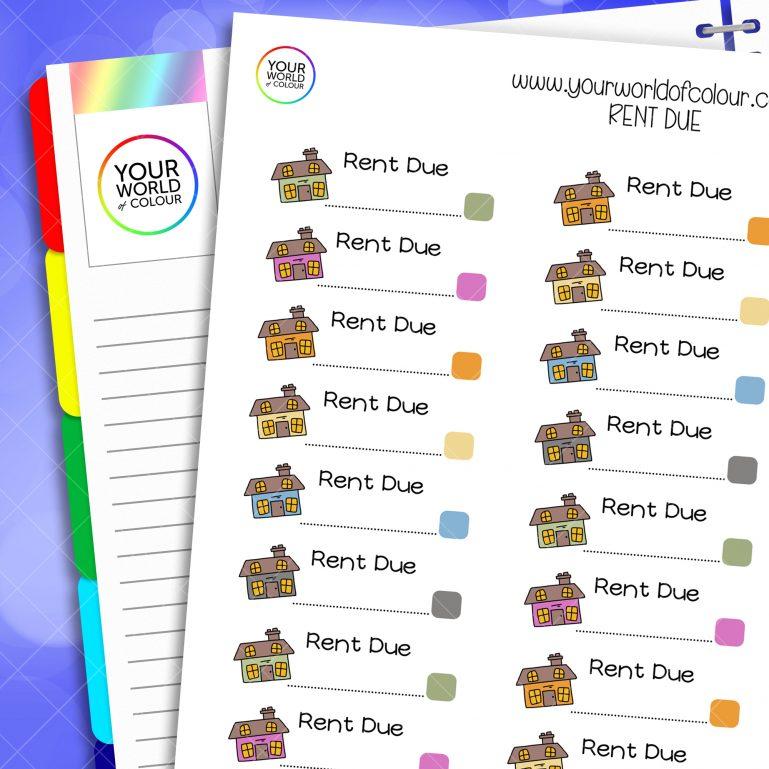 Rent Due Planner Stickers