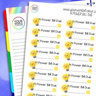 N Power Bill Due Planner Stickers