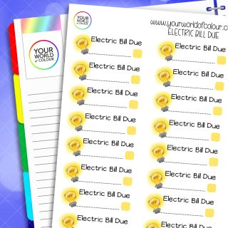 Electric Bill Due Planner Stickers
