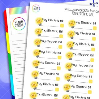 Pay Electric Bill Planner Stickers