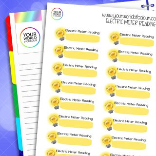Electric Meter Reading Planner Stickers