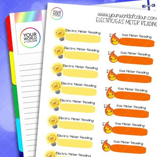 Electric and Gas Meter Reading Planner Stickers
