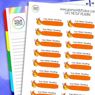Gas Meter Reading Planner Stickers