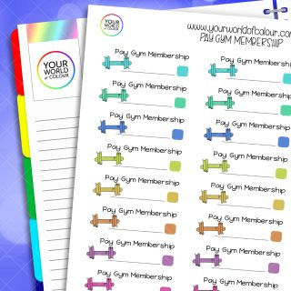Pay Gym Membership Planner Stickers