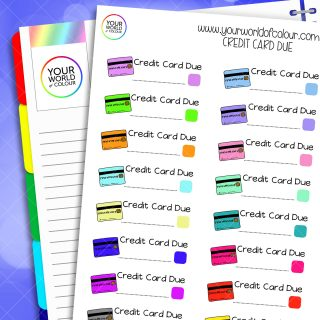 Credit Card Due Planner Stickers