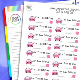 Car Tax Bill Due Planner Stickers