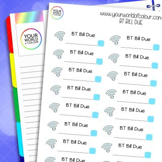 BT Bill Due Planner Stickers