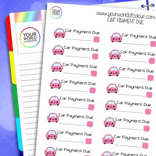Car Payment Due Planner Stickers
