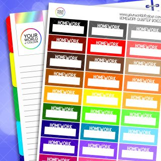 Homework Quarter Box Planner Stickers